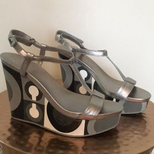 Coach silver wedge sandals size 7.5